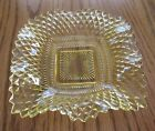 Vintage Yellow Glass Candy Dish Bowl Square Diamond Pattern 6 1/2 inches