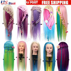 27'' Colorful Long Hair Mannequin Doll Practice Head Hairdressing With Clamp USA