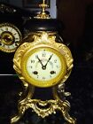 Rare Antique Jules Rolez Limited Paris Gilt Bronze Mantle Clock Works 1800's