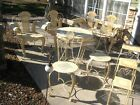 9pc Wrought Iron Patio Sunroom Furniture Loveseat Table 4 Chairs 3 Stack Tables