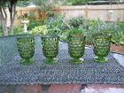 4 Vintage Indiana Glass Footed Juice Glass ~ Cubist ~ Green