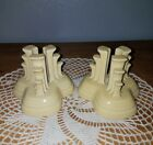 Fiesta Fiestaware Yellow Tripod Pyramid Art Deco Candlestick Candle Holder Set