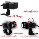 Dual USB Charger Fit Harley Heritage Softail Classic Cruiser FLST FLS Honda CBR