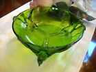 Jeanette Pheasant in Flight Three Footed Green Glass Vintage Bowl Unique Rare