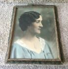 Vintage Wood Picture Frame w/ Old Photo Woman Pre 1950's
