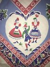 Vtg Cotton Tablecloth Germany German Beer Tulip Dancing
