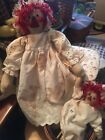 Primitive Raggedy doll with her baby raggie both in eyelet