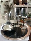 Unique Dorothy Thorpe Style Silver Fade Wine Decanter and 2 Wine Glasses