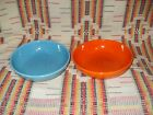VINTAGE TURQUOISE &  RED  HARLEQUIN  INDIVIDUAL SALAD BOWLS  -FIESTAWARE