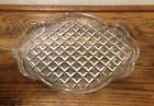 Vintage Clear Heavy Glass Oval Tray Condiment Vanity Diamond Pattern Art Deco