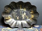 Antique Chinese Black Lacquer and Hand Painted Paper Mache Bowl/Tray WOW!