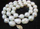 18 INCH HUGE SOUTH SEA 11-13MM WHITE BAROQUE PEARL NECKLCE 14K GOLD CLASP