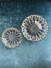 A Pair of Vintage Mid Century Crystal Serving Appetizer Snack Jewelry Dishes