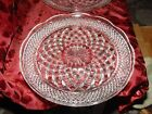 Vintage Set of 2 Clear Pressed Glass Serving Platters Star Diamonds Scallop Edge