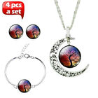 Multi color 4 pcs Life Tree Art Pendantt Chain Crescent Moon Necklace Earrings