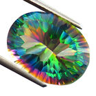 12.85 CTS VALENTINE AWESOME BLUE GREEN MYSTIC QUARTZ (Lab Created) OVAL CONCAVE