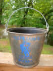Vintage Primitive Galvanized Pail Metal Secretary's Bucket Fundraiser Antique