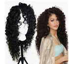 US Fashion Kinky Curly Wave Black Synthetic Hair Cosplay Party Wigs for Women