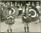 595 All Dressed Up for the Parade Girls Paper Umbrellas Vintage Photo