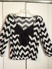 Womens Living Doll Black And White Herringbone With Sheer Bow Top Size Medium