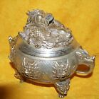 Chinese Silver Tone Brass Or Bronze Or Silver Incense Burner With Dragon