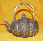 Chinese Silver Tone Brass Or Bronze Or Silver Teapot With Scholars