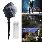 Outdoor LED Snowflake Moving Laser Light Projector Lamp Xmas Garden Party Decor