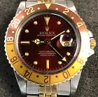 ROLEX GMT MASTER 16753 18K YG/STEEL BROWN NIPPLE DIAL & ROOT BEER BEZEL W/BOX