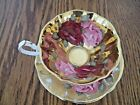 STUNNING QUEEN ANN CUP AND SAUCER ALL GOLD WITH ROSES