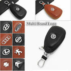 Multi-Brand Women Men Genuine Cow Leather Zip Car Key Holder Bag Ring Chain Case