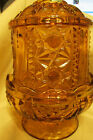 VINTAGE 1960'S 70'S  AMBER INDIANA GLASS FAIRY LIGHT, STARS AND BARS