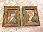Vitg. Pair Victorian Ladies Print Pictures Carved Gilt Wood Frames Convex Glass