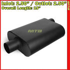 High Flow Two Chamber Muffler 25 inches Offset In Center Out Black 212241