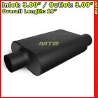 High Flow Two Chamber Muffler 3 inches Offset In Center Out Black 212246