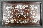 Fine Antique Chinese Carved Hard Wood Shell Inlaid Scholars Tea Serving Tray