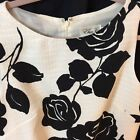 Eliza J MISSES 6 WHITE WITH LARGE BLACK ROSES ALL OVER IT SHEATH DRESS NICE G