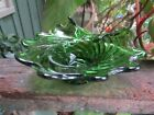 Emerald Green Glass Bowl Scalloped Folded Edge Swirl Pattern in Glass 2.5x6.5