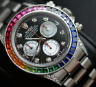 Genuine Steel Rolex 116520 Daytona F serial with multi color sapphire bezel