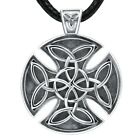 MANBU 925 Sterling Silver Unique Celtic Knot Charm Circular Oxidation Black Cros