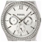 NEW! Fossil Ladies Scarlette Silver Tone White Dial Sparkle Womens Watch ES4314