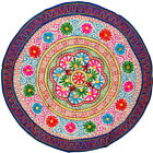 INDIAN BOHEMIAN FLORAL EMBROIDERY WORK ROUND TABLE CLOTH THROW HOME DECOR 35