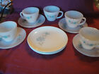 Lot 12 Vtg Anchor Hocking Fire King Bonnie Blue Flower Cups Saucers Plates