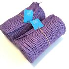 Set Of 2 Purple BURLAP JUTE Mesh Ribbon 55 x 15 Natural Unwired Craft Decor