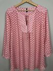 NYDJ abstract 3 4 Sleeve Pink White Red Size XL Top Blouse Shirt Tunic