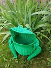 Vintage green wicker frog with glass eyes