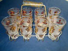 8 Vintage Frosted Libbey Gold Foliage Golden Leaf 12oz Tumblers Glasses w/Caddy