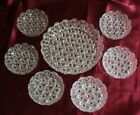 Vintage Set of 7 Shallow Rim Round Clear Daisy Button Glass Serving Dish