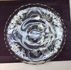 Vintage Clear Glass Footed Cake Plate Silver Overlay Plate Pastry Stand #747