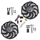2x 12Electric Cooling Fan Black  Push In Radiator Fin Probe Thermostat Kit