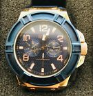 GUESS WATCH for Men U0247G3 Blue and Rose Gold . Silicon Strap
